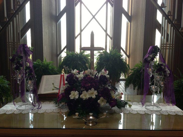 Purple flowers on altar at Marty Leonard Chapel. www.TexasHarp.com
