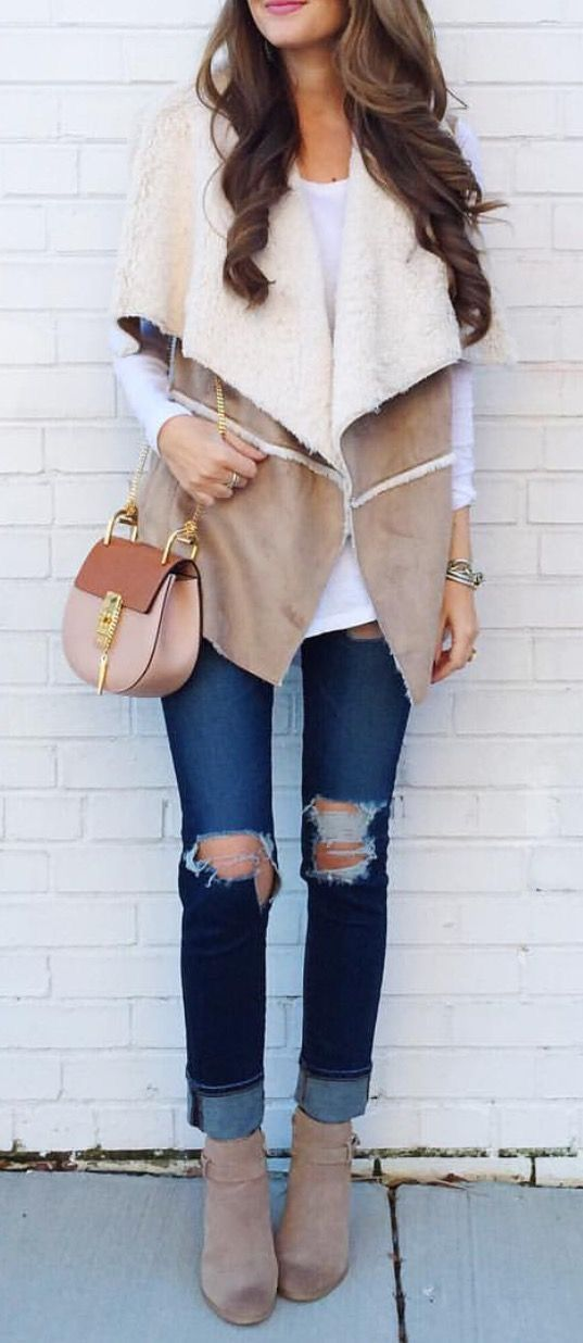 cozy shearling vest, jeans and chloe bag