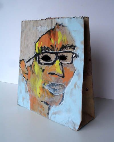 Art therapy intervention: bag self portrait. Have the child or teen create a self portrait on the outside of how they feel they present to the world. On the inside, the client can do another portrait of what they hide from others, or fill the bag w/ objects that they feel define them or are important to them.