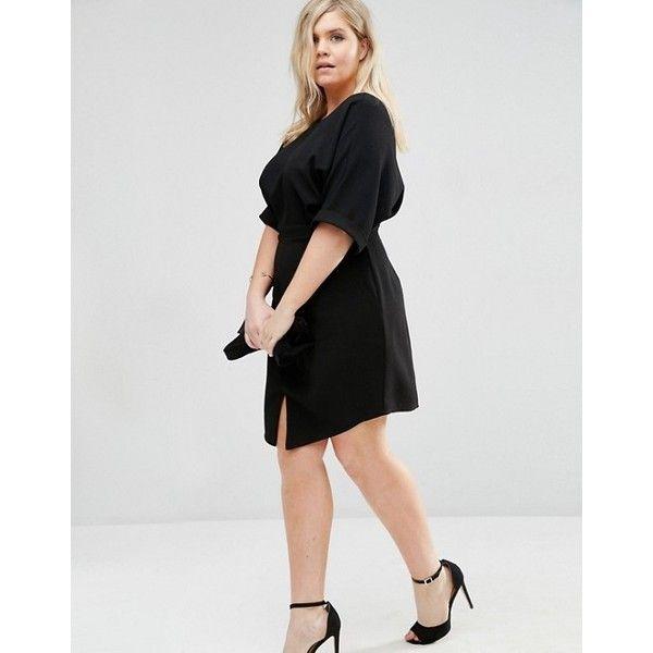 ASOS CURVE Mini Wiggle Dress ($29) ❤ liked on Polyvore featuring dresses, plus size mini dresses, mini dress, women's plus size dresses, zip dress and round neck dress