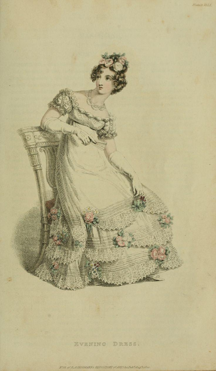 Regency fashion plate the secret dreamworld of a jane austen fan - Ackerman S 1820 Costume Gown Dress Outfit From The Regency Jane Austen Era