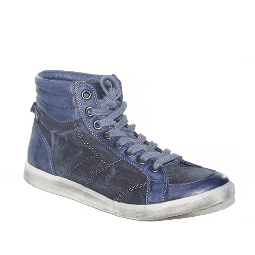 sneakers alta in tela color jeans.