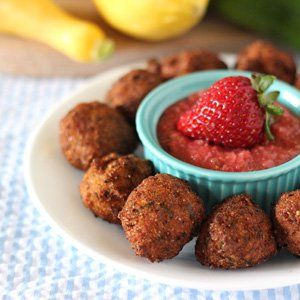 Summer Squash Croquettes with Strawberry Jalapeno Dip