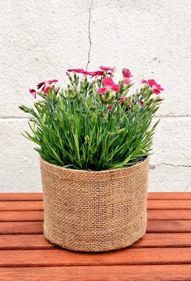 Large ROUND GARDENING POT Jute Basket Extra Strong Durable Long Lasting Basket Reversible Hessian Burlap Garden Bag Bucket Home Decoration