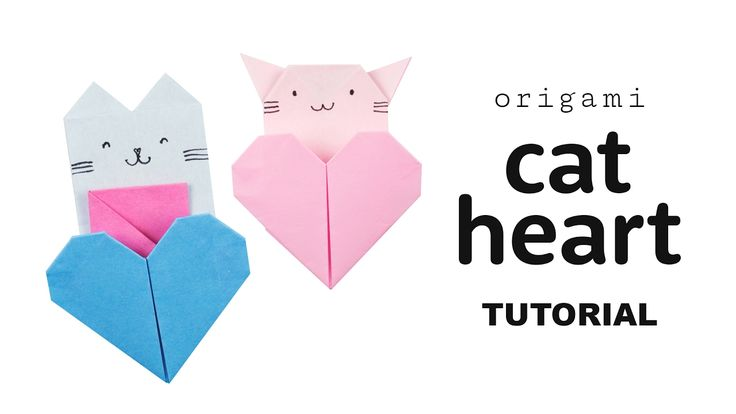 Origami Cat Heart Tutorial  DIY  Collab with Origami Tree  #origami #paperkawaii