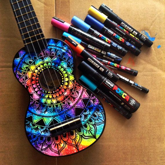 Galaxy/nebula design ukulele by SaltyHippieArt on Etsy