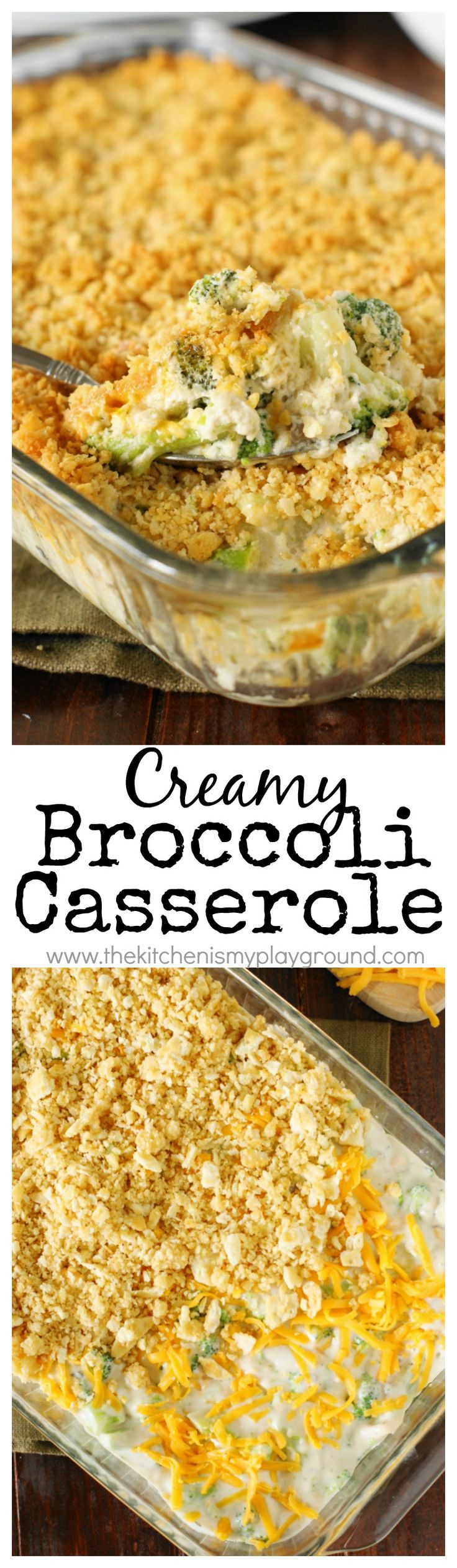 Creamy Broccoli Casserole ~ A family-favorite. With its cheesy broccoli goodness & buttered cracker topping, what's not to love?  A perfect side for Thanksgiving, Christmas, or any day!  www.thekitchenismyplayground.com