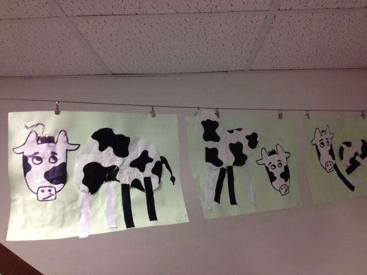 Koeien in de wei. Bespreek de koe. Hoe ziet hij er uit?  Laat vervolgens het voorbeeld zien.  Nu mogen de kinderen het  namaken. Laat de kinderen het hoofd, lijf en poten zelf opplakken op het groene papier.