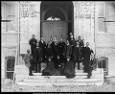 [Brigham Young Academy faculty, 1891]  Description This photograph, taken in 1891, pictures Dr. Maeser, center, amid faculty on the steps of the then unfinished Academy Building, where he never taught. He had nurtured the fledgling Academy through the difficult years of the old warehouse, but on the day the new Academy Building was opened, January 4, 1892, the old professor was replaced as principal by Benjamin Cluff, Jr., at his left in this picture. Dr. Maeser had been superintendent of…