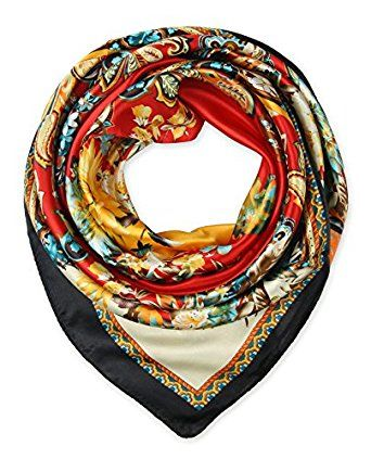 "corciova Elegant Women's Neckerchief Silk Feeling Satin Square Scarf Wrap 35"" Red $9.99 Free Shipping"