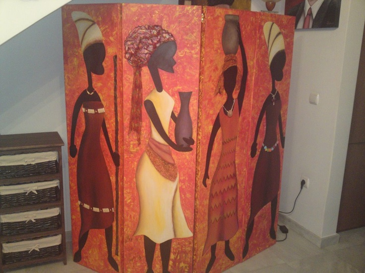 Code: : 1257  Artist: Despoina  Name: Ethnic Africa  Dimension: 4 Frames of 160x40 cm  Medium & Art Design: Original Hand Paint Brushed(Acryl) Canvas Screen  Framing: Stretched & Wrapped around Frame  Authenticity: All Original Paintings and Prints come with a personally signed Authenticity Certificate by Despoina