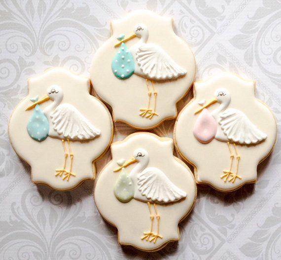 Elegant Pastel Stork Baby Shower Cookies One by thesweetesttiers