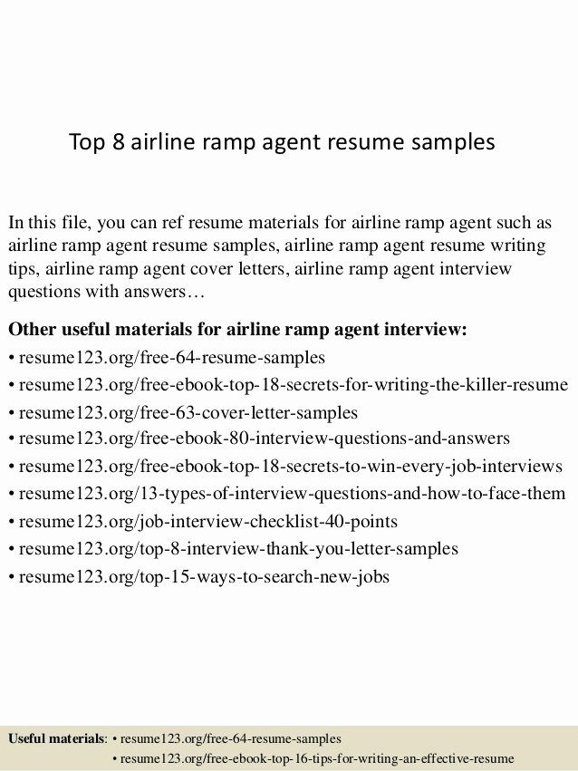 Ramp Agent Job Description Resume Awesome Top 8 Airline Ramp Agent Resume Samples In 2020 Resume Examples Job Resume Samples Manager Resume