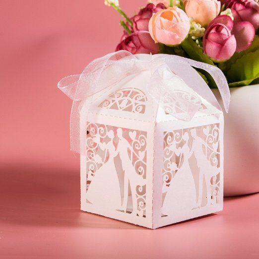 JZK® 50 x Scatoline portaconfetti bomboniere per matrimonio fidanzamento festa o occasioni varie, ideale per confetti, caramelle, cioccolatini, gioielli piccoli, ecc, bianco (sposa e sposo B): Amazon.it: Casa e cucina