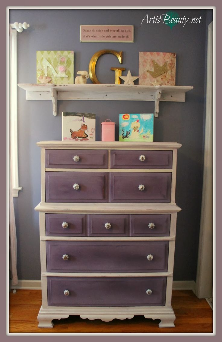 ART IS BEAUTY: New Orleans Purple Girls Dresser makeover.