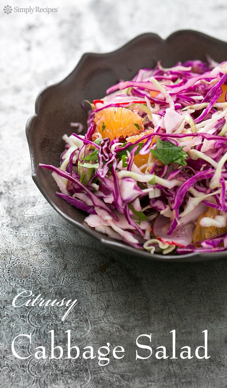 Citrusy Cabbage Salad with Cumin and Coriander ~ Colorful shredded cabbage salad with oranges and radishes and a zesty lime cumin coriander dressing! ~ SimplyRecipes.com #paleo #lowcarb #vegan #glutenfree