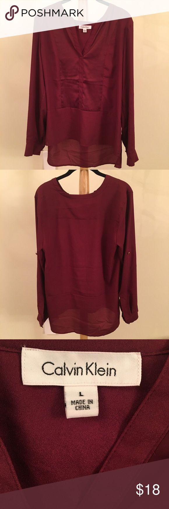 Calvin Klein Red Blouse In great condition! See pictures  Very flowy, light-weight material is perfect for spring or summer nights out.   Please feel free to comment any questions!!!!  BUNDLE 1 OR MORE ITEMS & SAVE ON SHIPPING + GET 5% OFF! Calvin Klein Tops Blouses
