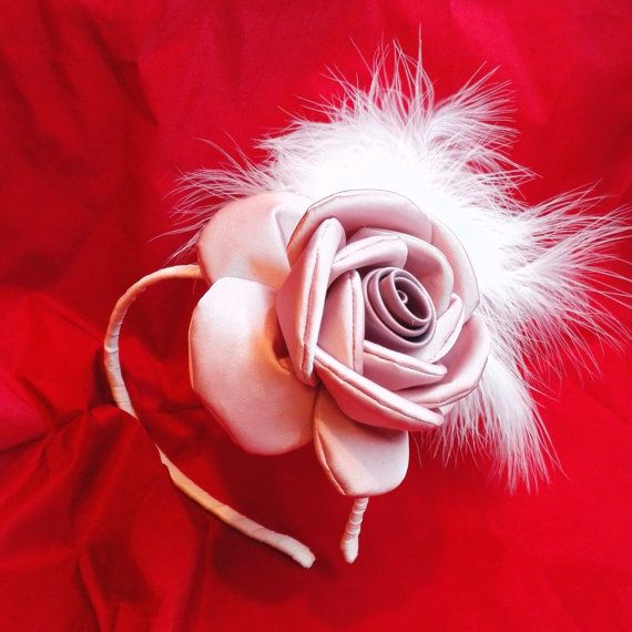 Big Rose Fascinator Rose and Feathers by AnaManoleAtelier on Etsy