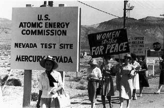 Women Strike for Peace march, July 15, 1962, Mercury, Nevada. Photo by Harvey Richards.