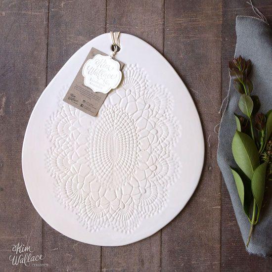 Medium Vintage Lace serving board ~ white 03, Handmade Australian Ceramics - KW Ceramics