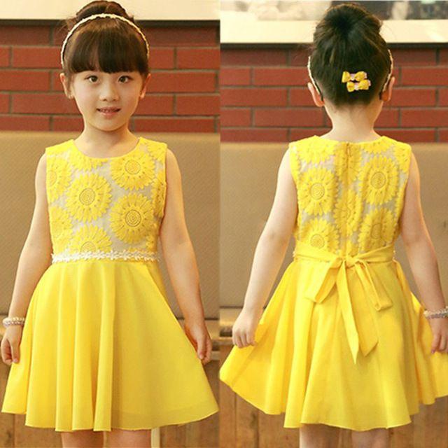 2017 New Sunflowers Girls Summer Princess Dress Baby Girl Chiffon Dress With Belt Yellow Sundress Kids Clothes Vestido De Menina