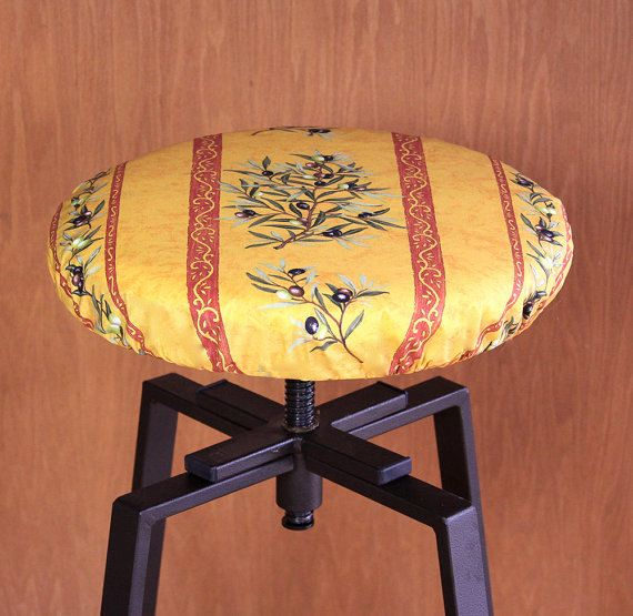 Bar Stool Cover Olives Branches in Gold - Provence Coated Elasticized Seat Cover for Bar Stools and Counter Stools -