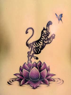 Tatuaggi giapponesi - fiore di loto e gatto a caccia...di Akatsuki