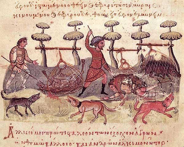 Kynegetica f 56v hunters middle byzantine occupations pastimes and pursuits pinterest
