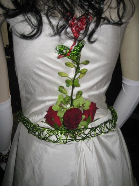 Dress Detail Green Wires, Green Singapore Orchid , Red Roses Love Harts Red & Green