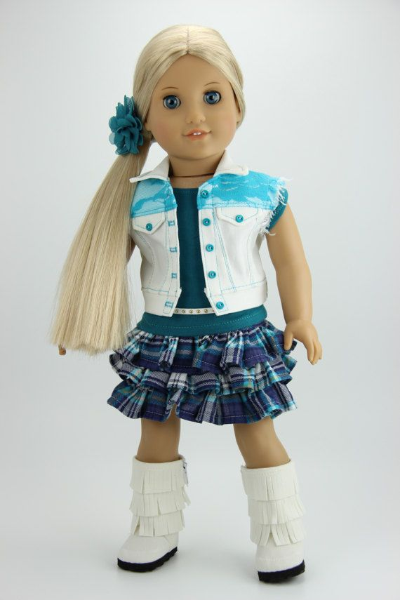 Handmade 18 inch doll clothes - Teal and white 5 piece denim vest outfit (407teal)