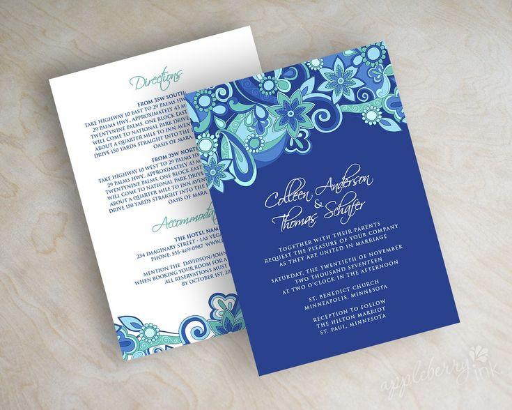 Paisley Wedding Invitation, Paisley Wedding Invite, Paisley Wedding  Stationery, Royal Blue Wedding Invitation, Royal Blue, Aqua, Teal, Xenia