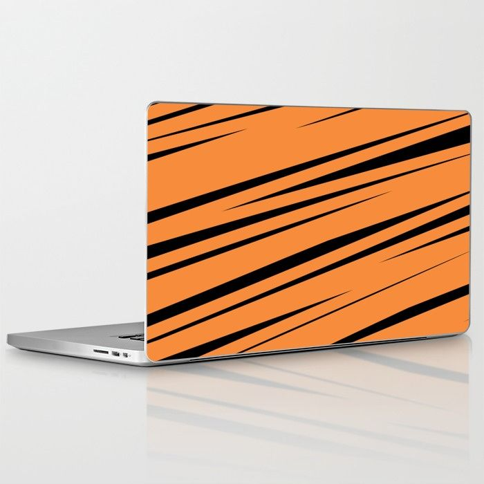 $25.99 Skins are thin, easy-to-remove, vinyl decals for customizing your laptop or iPad. #laptop #skin #tech #lines #stripes #scribble #doodle #modern #creative #pattern #orange #black #abstract #buyart #society6 #gift #giftideas