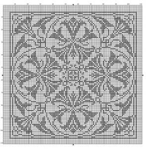 Square 14 | Free chart for cross-stitch, filet crochet | Chart for pattern - Gráfico