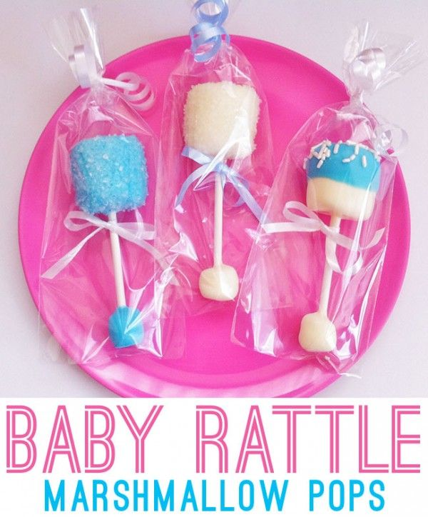 baby rattle marshmallow pops featured on Design Dazzle
