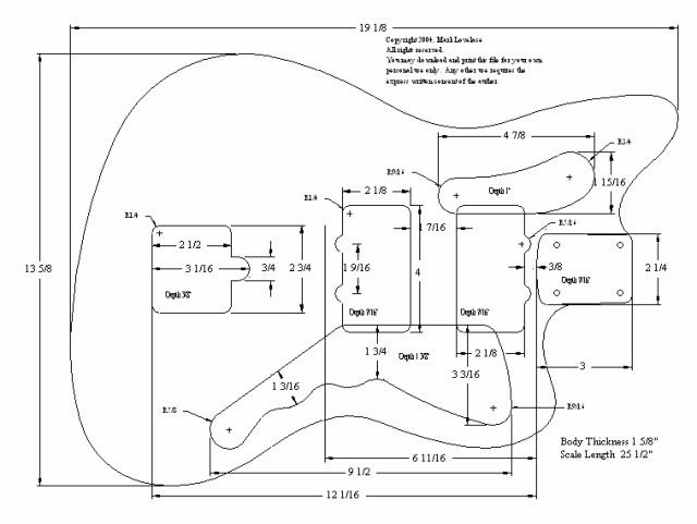 fender modified jazzmaster body template