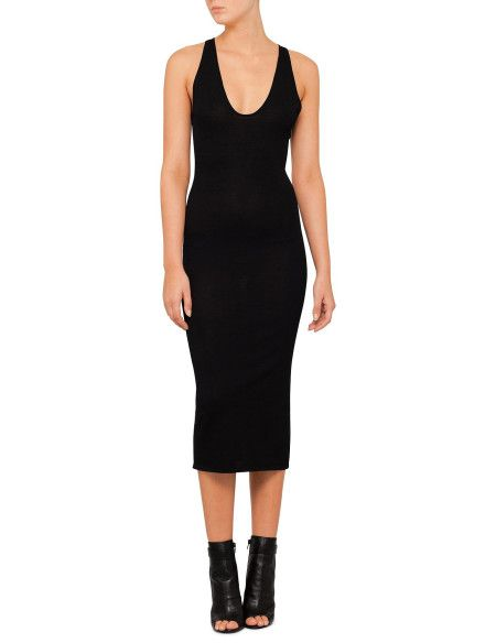 This fine knit dress from Dion Lee Line II features a beautifully flattering close fit with a deep scoop neck and a long hem.