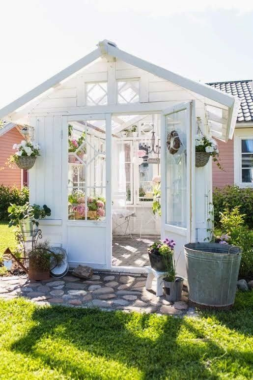 this would be my absolute dream for a garden i love the natural light and the white exterior such a amazing garden shed or just a place to hang out