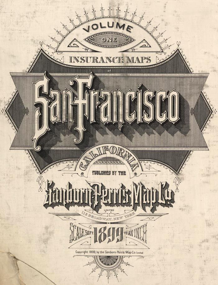 Pre-Earthquake San Francisco 1905 Sanborn Insurance Atlas - A rare 6 volume 1905 San Francisco Sanborn Insurance Atlas showing the city as it was just months before the great earthquake and fire of 1906.  The atlas was published in 1899/1900 and was updated manually several times by the publisher, the Sanborn-Perris Map Company of New York, with the last updates done in the fall of 1905.