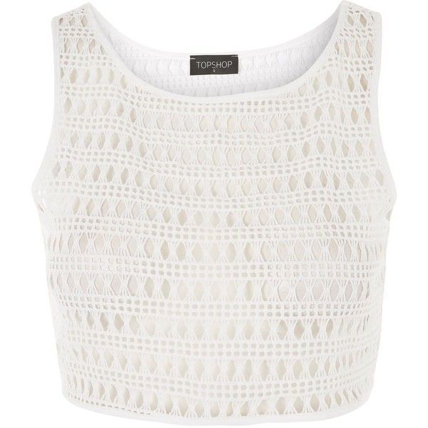 Topshop Lace Crop Top Bikini Cover Up ($23) ❤ liked on Polyvore featuring swimwear, cover-ups, tops, white, white cover up, white beach cover up, cover up swimwear, swim cover up and lace bikini swimwear