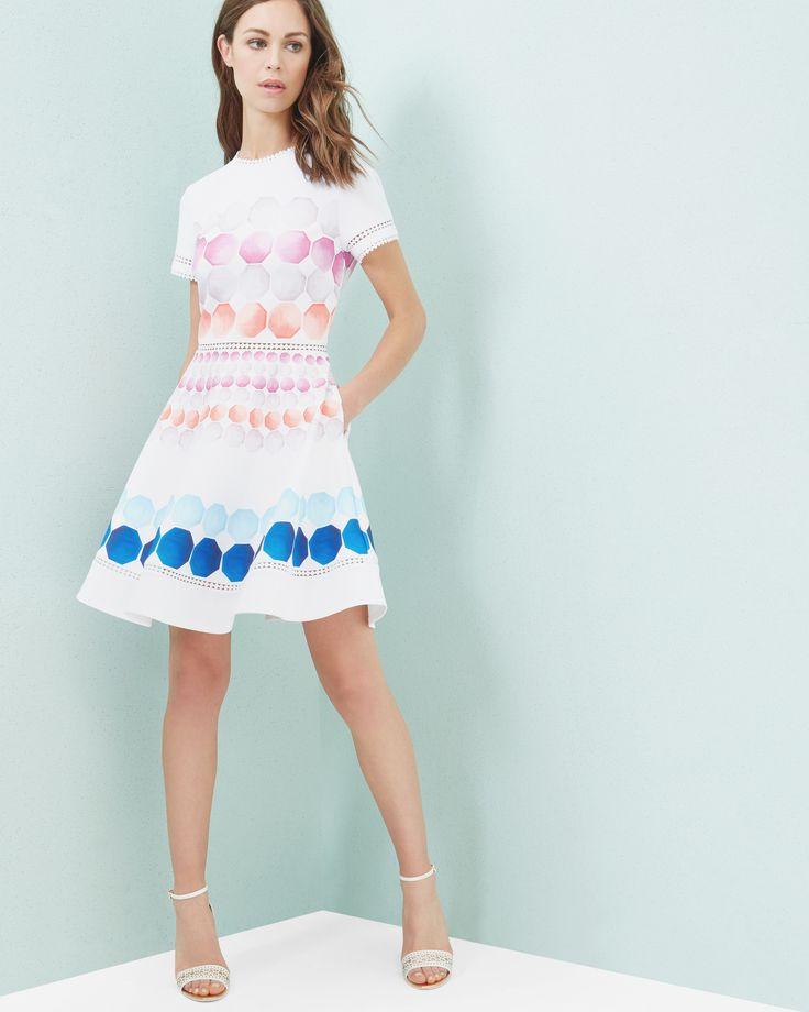 Marina Mosaic skater dress - White | Dresses | Ted Baker