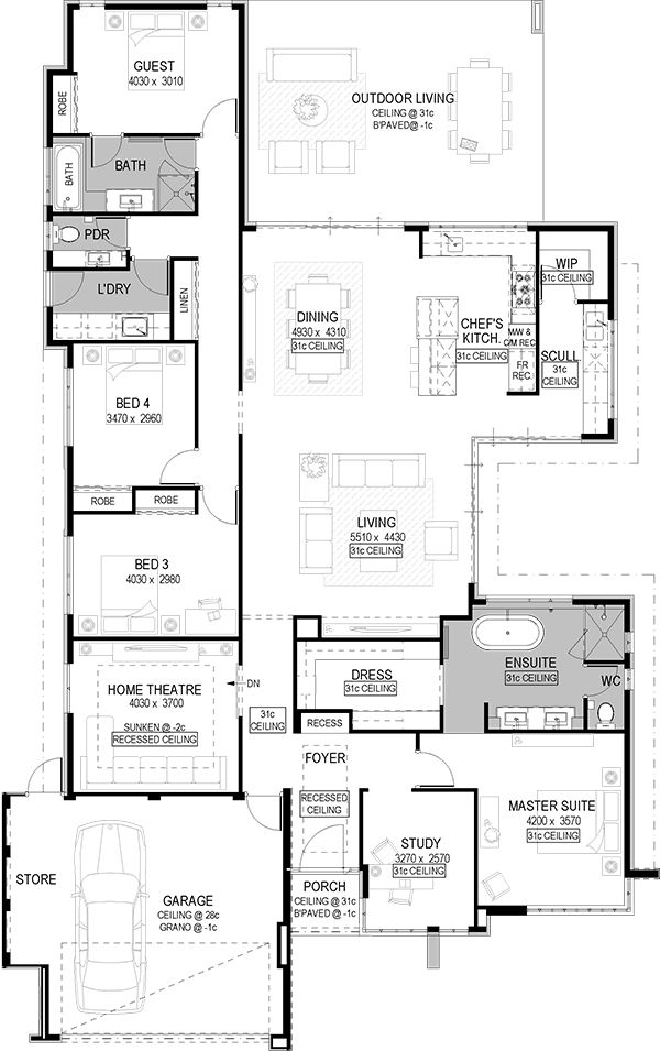 House Plans With Kitchen In Middle My House Plans Home Design Floor Plans House Plans