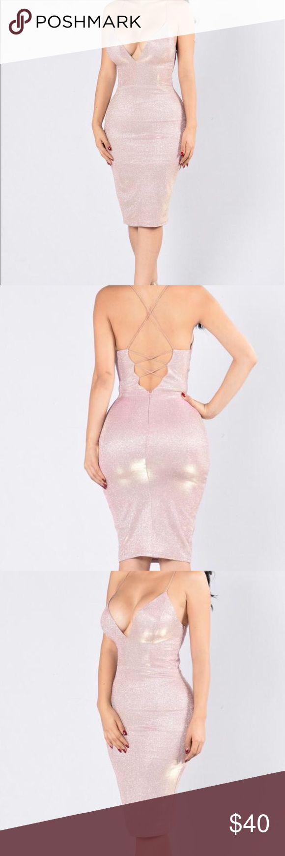 Rose Pink Midi Bodycon dress The dress is shimmery and is a beautiful rose gold bodycon dress that hugs your hips Dresses Midi