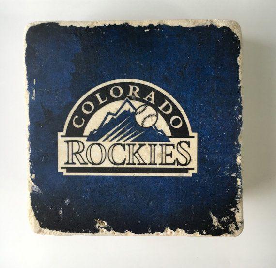 Colorado Rockies Baseball Natural Travertine Tumbled Stone Coaster Set of 4 with Full Cork Bottom