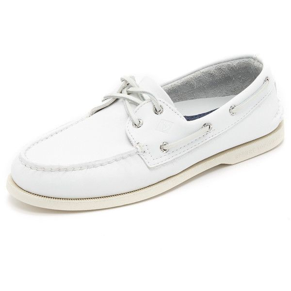 Classic Sperry Top-Sider boat shoes in smooth leather with tonal stitching. The rubber outsole is outfitted with the brand's Wave Siping, which provides excell…