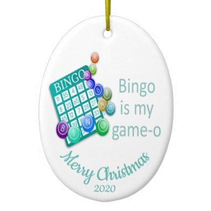 Custom Dated Christmas Fun Bingo Quote Ceramic Ornament - home decor design art diy cyo custom