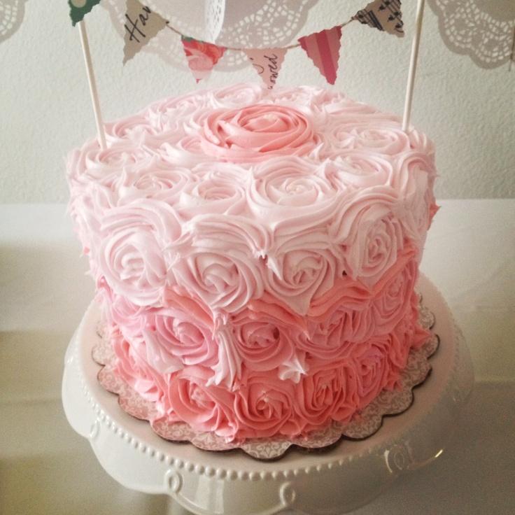 Red Ombre Rosette Cake
