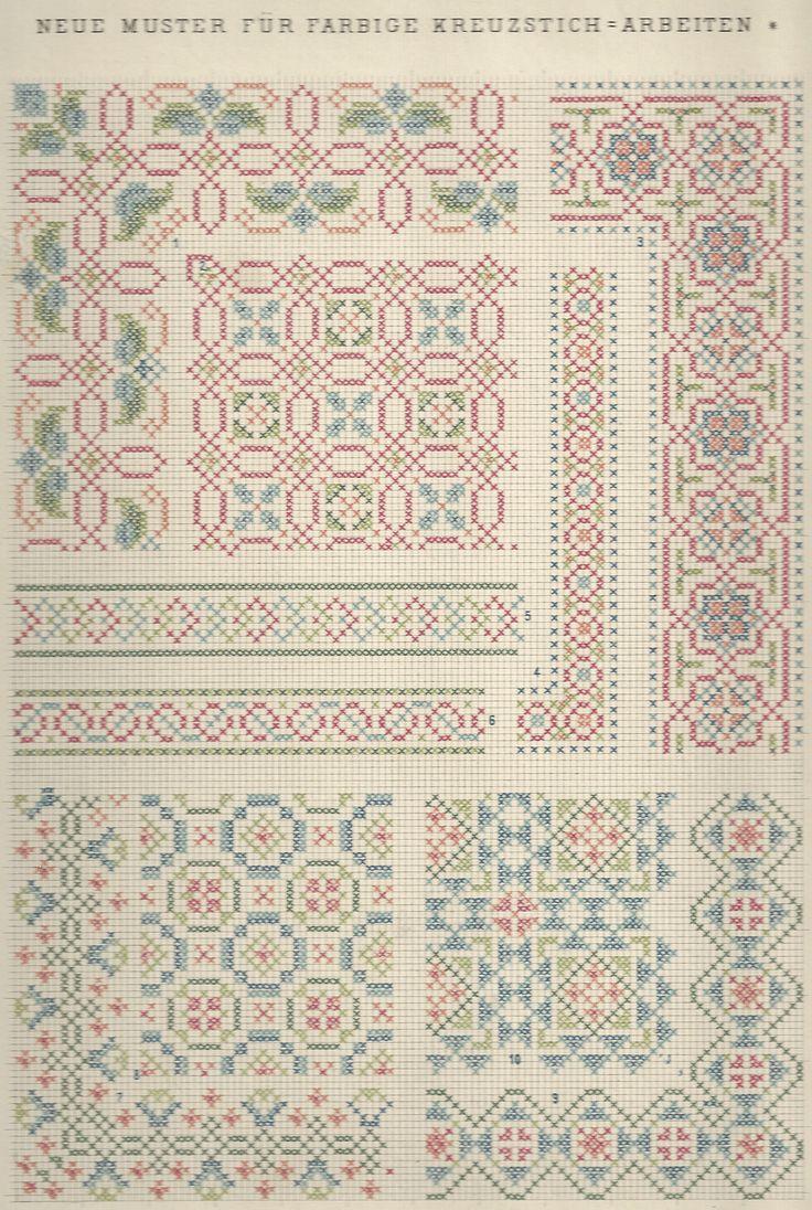 1 / Blatt 16 - Neue Muster-Vorlagen Fur Farbige Kreuzstich-Arbeiten - A. Scheffers - Published by J. M. Gebhardt's Verlag, Leopold Gebhardt, 1887