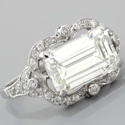 Emerald-cut Diamond Engagement Ring Art Deco Style Platinum