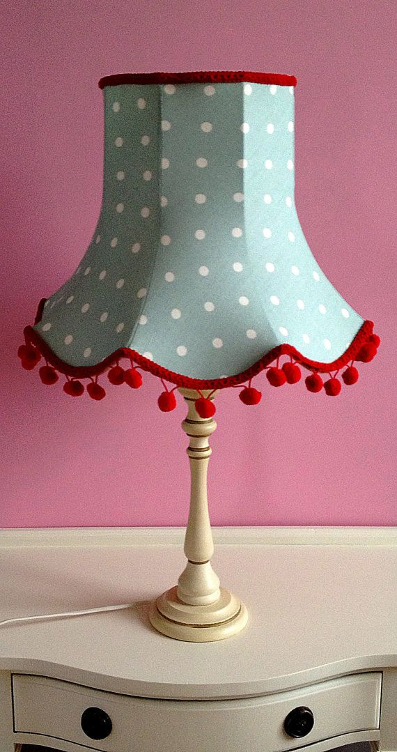 Vintage Shabby Chic DuckEgg Blue and Red Polka by QueenofShades, £45.00