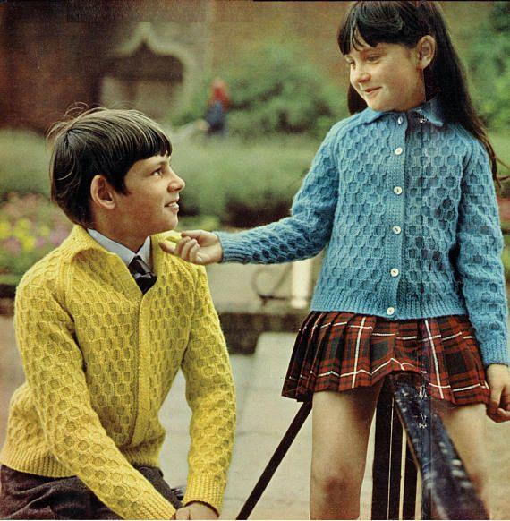 Pdf Vintage Knitting Pattern Children Kids Ladies Boy Girl